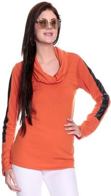Remanika Solid Women's Polo Neck Orange T-Shirt