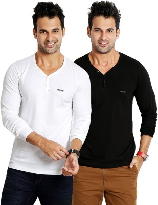 Rodid Solid Men's V-neck White, Black T-Shirt