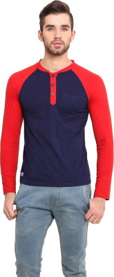 Western Vivid Solid Men's Henley Blue, Red T-Shirt