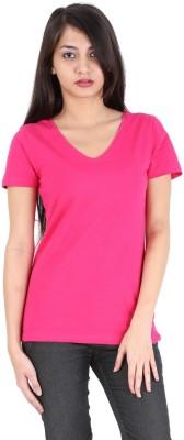 Avarnas Solid Women's V-neck Pink T-Shirt