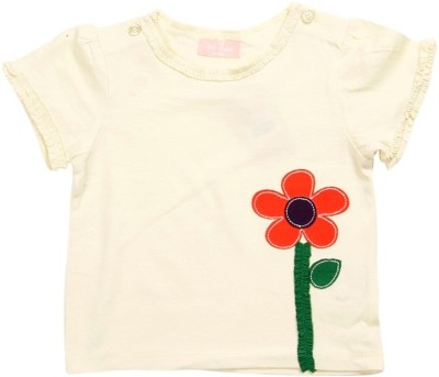 JusCubs Self Design Baby Girl's Round Neck Yellow T-Shirt