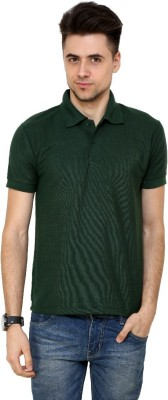 Grand Bear Solid Men's Polo Neck Dark Green T-Shirt