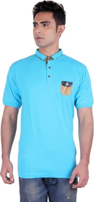 District London Solid Men's Polo Neck Blue T-Shirt