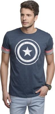 Captain America Printed Men's Round Neck Blue T-Shirt