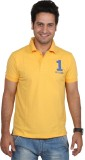 UID Solid Men's Polo Neck Yellow T-Shirt