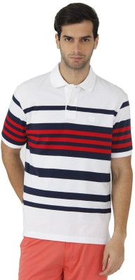 Fahrenheit Striped Men's Polo Neck White, Red T-Shirt
