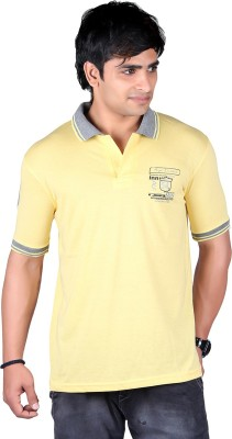 ALF Solid Men's Polo Neck Yellow T-Shirt