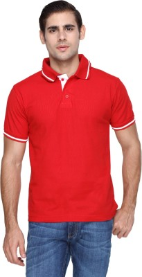 FX Jeans Co Solid Men's Polo Neck Red T-Shirt