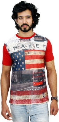 men in class Printed Men's Round Neck Red T-Shirt