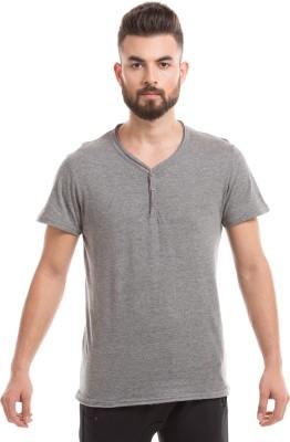 Shuffle Solid Men's Round Neck Grey T-Shirt