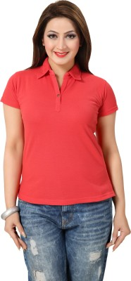 Go4it Solid Women's Round Neck Red T-Shirt