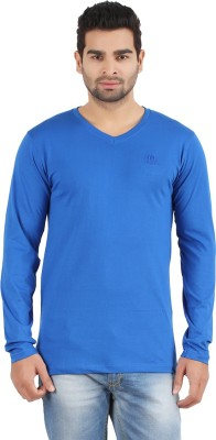 R - Cross Solid Men's V-neck Blue T-Shirt