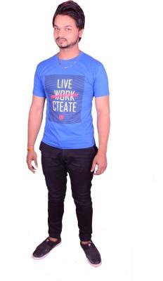 HIMGIRI Printed Men's Round Neck Blue T-Shirt