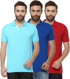 Youthen Solid Men's Polo Neck Blue, Blue...