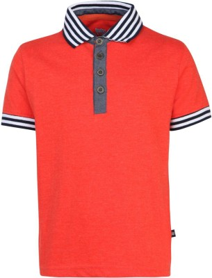 Bells and Whistles Printed Boy's Polo Red T-Shirt