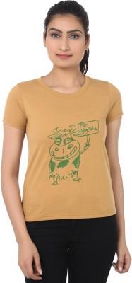 TshirtVilla Printed Women's Round Neck Brown T-Shirt
