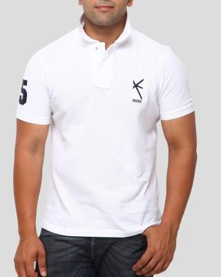 Yross Solid Men's Polo Neck White T-Shirt