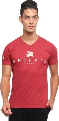 Griffin Sport Printed Men's V-neck Red T-Shirt