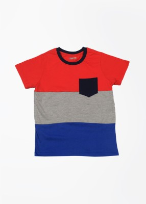 People Striped Boy's Round Neck Grey, Blue, Red T-Shirt