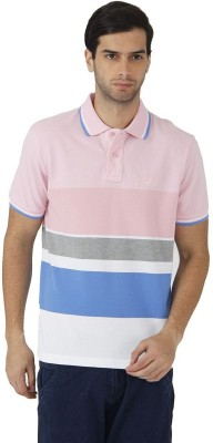 Fahrenheit Striped Men's Polo Neck Pink, White T-Shirt