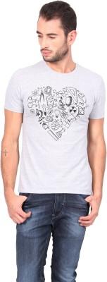 Geekly Printed Men,s Round Neck Grey T-Shirt
