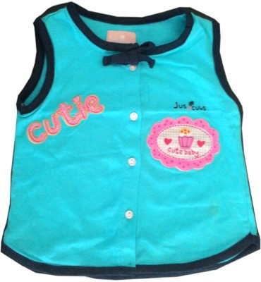 Cool Club Printed Baby Girl's Round Neck Blue T-Shirt