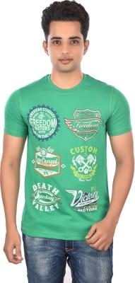 Rockstar Jeans Graphic Print Men's Round Neck Green T-Shirt