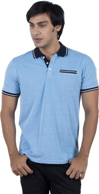 Stop To Start by Shoppers Stop Solid Men,s Polo Neck Light Blue T-Shirt