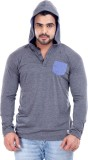 Male Basics Solid Men's Hooded Grey T-Sh...