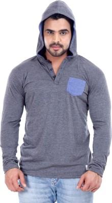 Male Basics Solid Men's Hooded Grey T-Shirt