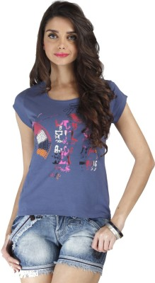 Chlorophile Printed Womens Round Neck Blue T-Shirt