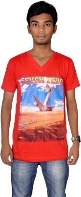 Revinfashions Graphic Print Men's V-neck Reversible Red T-Shirt