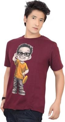Zootx Printed Men's Round Neck Maroon T-Shirt