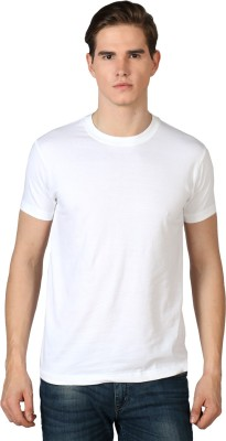 River Nation Solid Men's Round Neck White T-Shirt