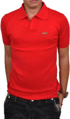 Blue 69 Solid Men's Polo Neck Red T-Shirt