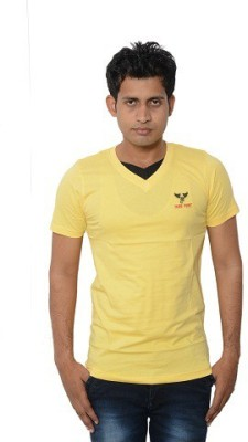 Lampara Solid Men's V-neck Yellow T-Shirt