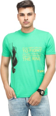 Yuvi Printed Men's Round Neck Light Green T-Shirt