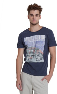 Breakbounce Printed Men's V-neck Dark Blue T-Shirt