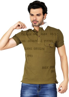Riot Jeans Printed Men's Polo Neck Green T-Shirt