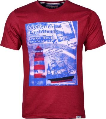 Wali Printed Men's Round Neck Maroon T-Shirt