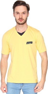 Campus Sutra Solid Men's V-neck Yellow T-Shirt