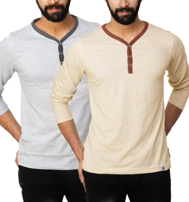 UnKonventional Self Design, Solid Men's Henley Silver, Beige T-Shirt