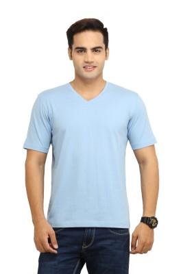 WallWest Solid Men's V-neck Light Blue T-Shirt