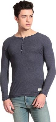 Tinted Solid Men's Henley Dark Blue T-Shirt