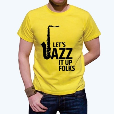 Vagabond Creations Graphic Print Men's Round Neck Yellow T-Shirt