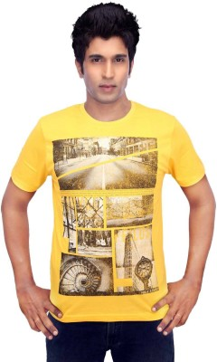 Gallop Printed Men's Round Neck Yellow T-Shirt