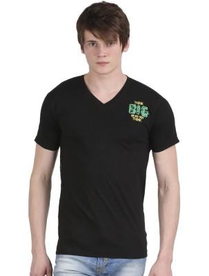 Tease Denim Embroidered Men's V-neck Black T-Shirt