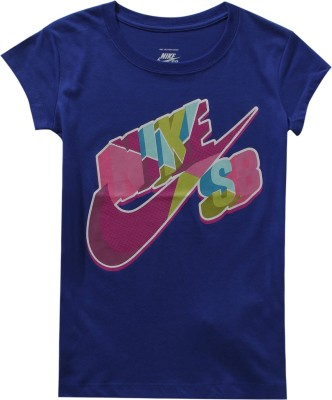 Nike Kids Graphic Print Girl's Round Neck Blue T-Shirt