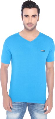 Springfield Solid Men's V-neck Blue T-Shirt