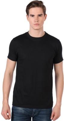Shootr Solid Men's Round Neck Black T-Shirt